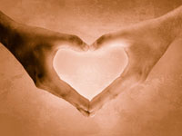 Support fundraisers: image of hands as heart